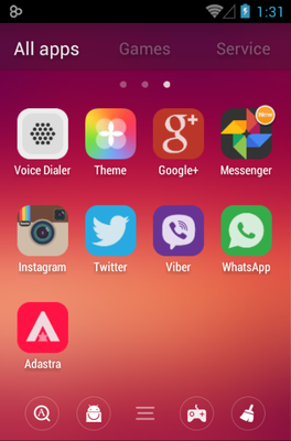 Adastra android theme application menu