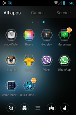 Comb android theme application menu