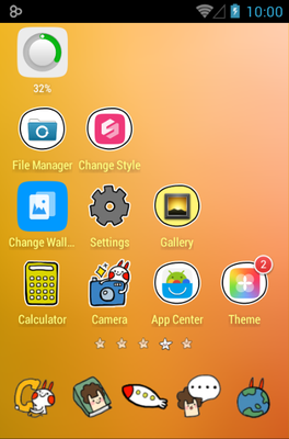 Outer Space android theme home screen