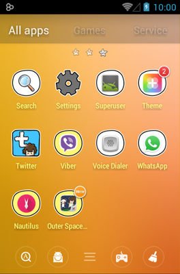 Outer Space android theme application menu