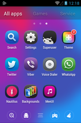 MeeUi HD android theme application menu