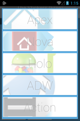 The Stickers android theme launcher menu