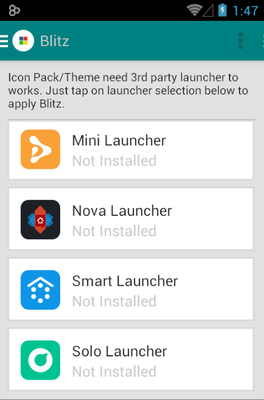 Blitz android theme launcher menu