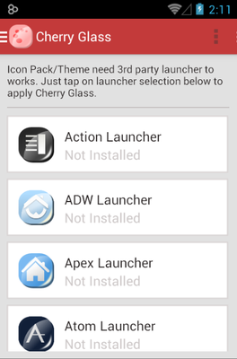 Cherry G android theme launcher menu