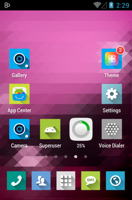 Long Shadow android theme home screen