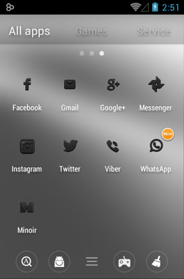 Minoir android theme application menu