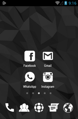 Whicons android theme home screen