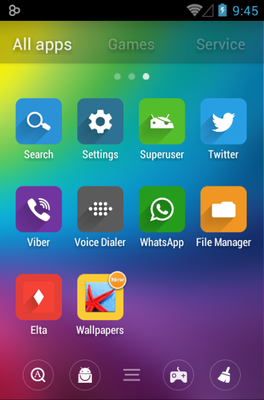 Elta android theme application menu