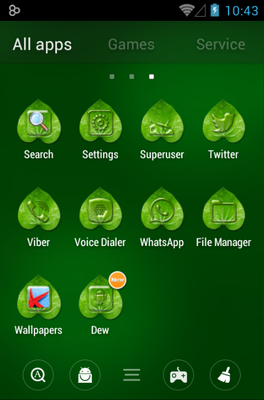 Dew Waterdrop android theme application menu