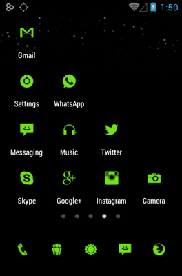 Tiny Green android theme application menu