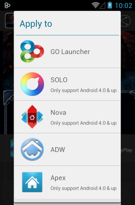 Blue Dragon android theme launcher menu