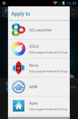 Crystal Balling android theme launcher menu