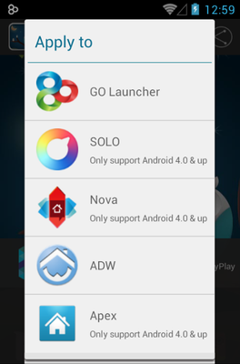 Animalcg android theme launcher menu