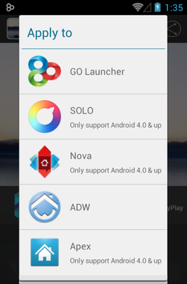 Faenza android theme launcher menu