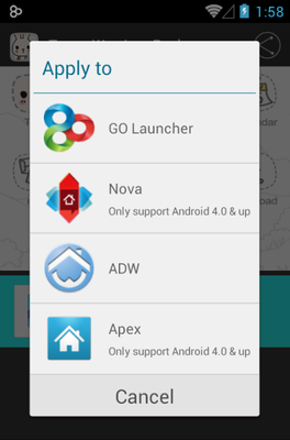 TossyWay android theme launcher menu