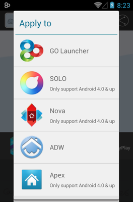 Blue Fish android theme launcher menu