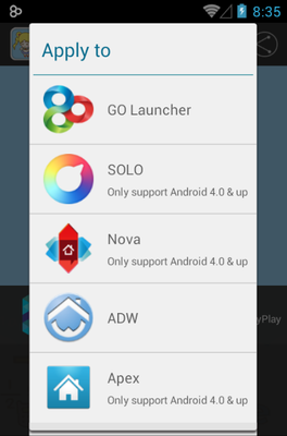 Bora Girl android theme launcher menu