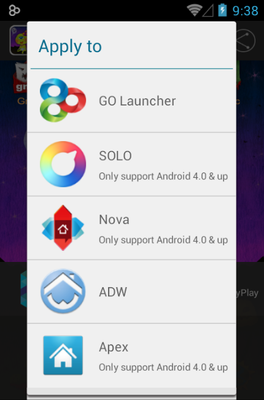Color Young android theme launcher menu