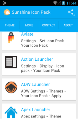 Sunshine android theme launcher menu