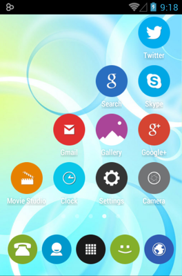 Rounded UP android theme application menu