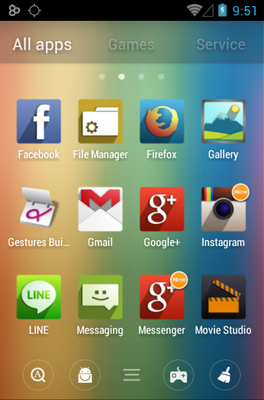 UP android theme application menu