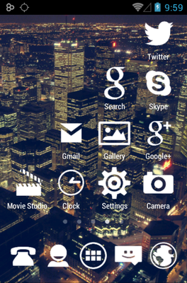 Stamped White android theme application menu