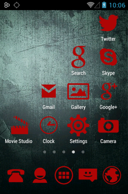 Stamped Red android theme application menu