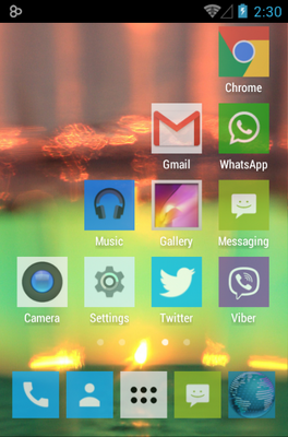 192 Square Lite android theme home screen