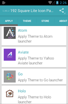 192 Square Lite android theme launcher menu