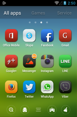 Iconia android theme application menu