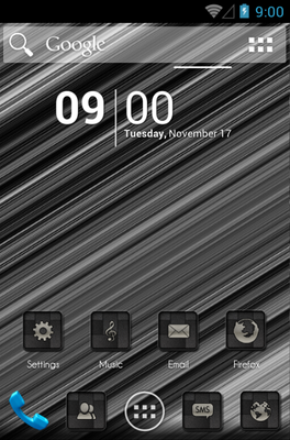 Black Brushed Carbon android theme home screen