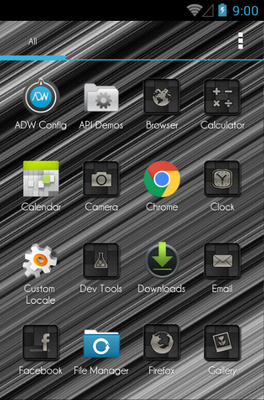 Black Brushed Carbon android theme application menu