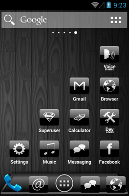 Black Gloss android theme application menu
