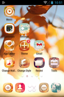 Gold Autumn android theme home screen