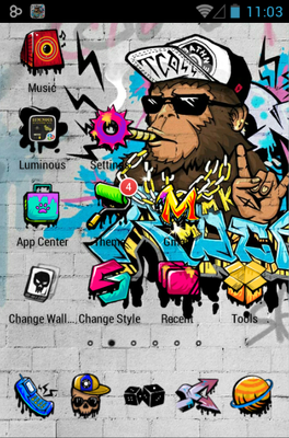 Rock Graffiti android theme home screen