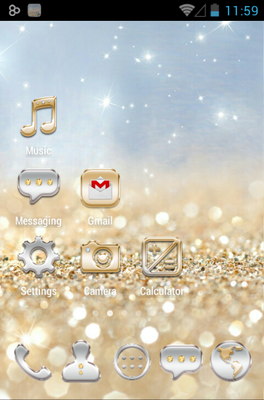 Gold & Silver android theme home screen