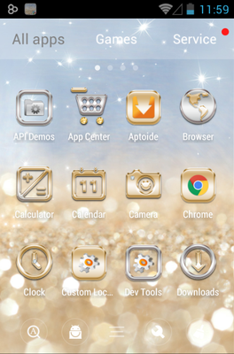 Gold & Silver android theme application menu