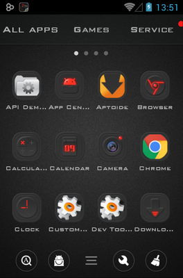 Dark Energy android theme application menu