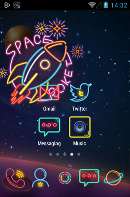 Color Neon android theme home screen