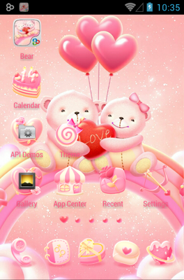 Bear Lovers android theme home screen