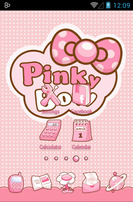 Pinky Bow android theme home screen