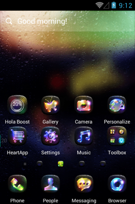 Luminous android theme home screen
