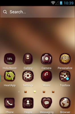 Chocolate android theme home screen