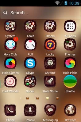 Chocolate android theme application menu