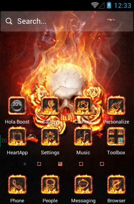 The Flame Skull android theme home screen