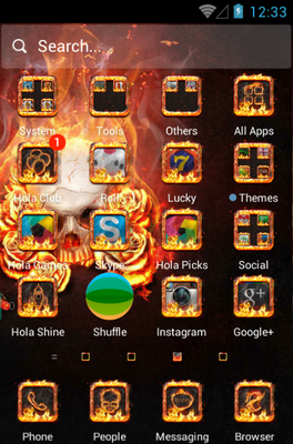 The Flame Skull android theme application menu