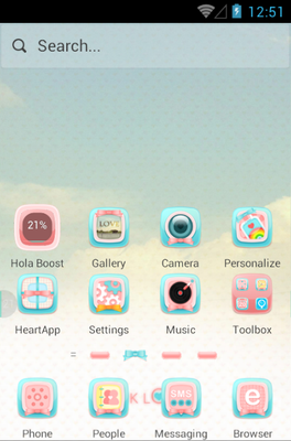 Pink Love android theme home screen