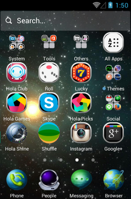 Star Trip android theme application menu