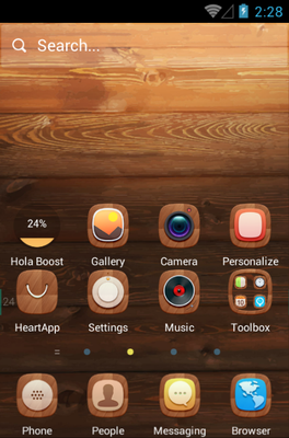 A Wooden Finish android theme home screen