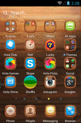 A Wooden Finish android theme application menu